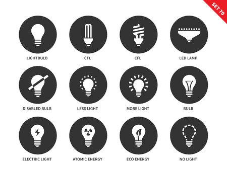 atomic energy: Light and bulbs vector icons set. Illumination and electricity concept. Different kinds of bulbs, cfl, led lamp, atomic energy, lighting options. Isolated on white background. Illustration
