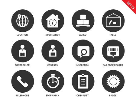 inspection: Logistics vector icons set. Delivery and transportation concept. Icons for commercial companies, cargo, location, controller, courses, inspection, telephone, checklist. Isolated on white background Illustration