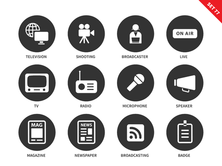 Media equipment vector icons set. Mass media concept. Broadcasting items, television, broadcaster, on air sign, radio, speaker, magazine and newspaper. Isolated on white background Illustration