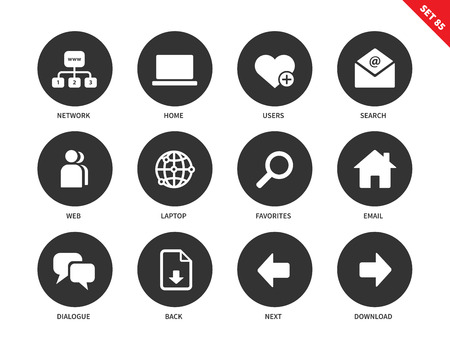 contact information: Social network vector icons set. Internet and communication concept. Web pages items, search, user, laptop, email, dialogue and options for navigation. Isolated on white background Illustration