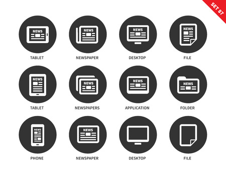 public folder: Newspaper vector icons set. Printed media and modern technology concep. Icons for banners and advertising, news on tablet, phone, computer, file and folder. Isolated on white background Illustration