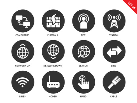 contact information: Network vector icons set. Internet and information technology concept. Web pages and appps items, computer, station, search, line, modem, cable,hand click. Isolated on white background