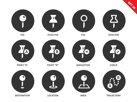 trajectory: Pin vector icons set. Navigation concept, map pointers, push pin, pins, destinatio, location, area, trajectory, travelling. Isolated on white background
