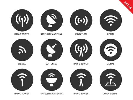 radio: Radio tower vector icons set. Radiowave concept, connection. Icons for telecommunication companies. Items, signal, satellite antenna, vibration, area signal. Isolated on white background