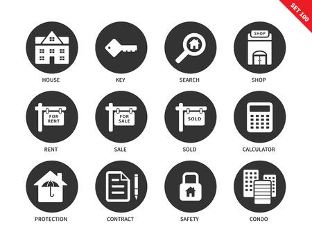 icônes vectorielles immobilière définies. concept de biens immobiliers. Les icônes des bannières et des annonces, maison, clé, recherche, location, vente, vendus, contrat, condo, sécurité. Isolé sur fond blanc