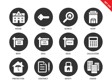 Real estate vector icons set. Immovable property concept. Icons for banners and ads, house, key, search, rent, sale, sold, contract, condo, safety. Isolated on white background