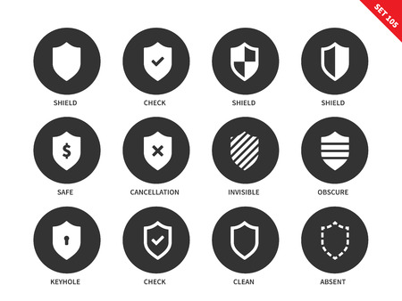 shielding: Shield vector icons set. Protection and antivirus concept. Security and safety system icons, check, shield, safe, invisible, obscure, clean, absent. Isolated on white background