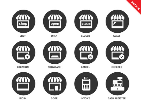 cash register building: Shop vector icons set. Shopping and consumerism concept. Icons for banners and ads, shop, store, showcase, open, invoice, kiosk, cash, register, closed. Isolated on white background Illustration