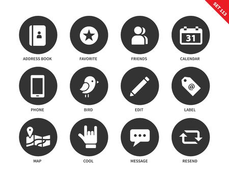 adds: Social vector icons set. Social network concept, items for web pages and adds, friends, phone, calendar, edit, label, map, message, bird. Isolated on white background