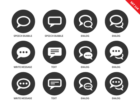 microblog: Speech bubble vector icons set. Messaging and dialog concept. Communication items, differenr speech bubbles, dialog, text, messages. Isolated on white background
