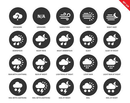 Weer vector iconen set. Natuur concept. Pictogrammen voor weersvoorspelling systeem, zandstorm, wazig, stortbui, regen, hagel, bliksem, nacht, hagel. Geïsoleerd op witte achtergrond Vector Illustratie