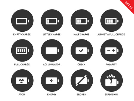 cadmium: Battery charge indicators vector icons set. Charge level indicators for interface, batteries, accumulators. Icons for tablets and mobile devices. Isolated on whithe background