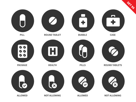 Pills and tablets vector icons set. Medicine and heathcare concept. Medical treatment, pill, round tablet, bubble, medical case, pachage. Isolated on white background Illustration