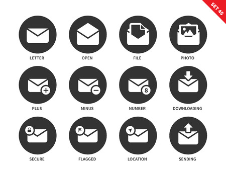 sending: Email vector icons set. Web communicating concept. Items for phone and tablets displays, envelope, letter, message, photo, file, downloading, sending. Isolated on white background Illustration
