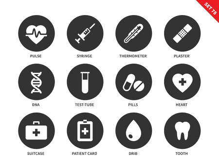 heathcare: Medical tools vector icons set. Medicine and heathcare concept. Hospital equipment, pulse, syringe, plaster, test-tube, pills, drib, teeth and patient card.  Isolated on white background