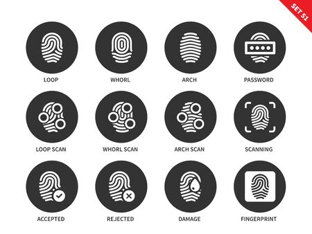 Fingerprint vector icons set. Access and security concept. Items for systems of protection, loop, whorl, arch, password, scanning, fingerprints. Isolated on white background. Illustration