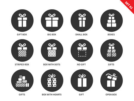 big boxes: Gift boxes vector icons set. Party and celebration concept. Surprise and birthday items, gift, present, ribbon, small and big boxes. Isolated on white background