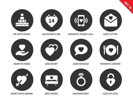 Liefde vector iconen set. Gevoelens en St. Valentijnsdag concept, taart, kaart, liefde brief, bericht, romantisch diner, bed en diamanten ring. Geïsoleerd op witte achtergrond