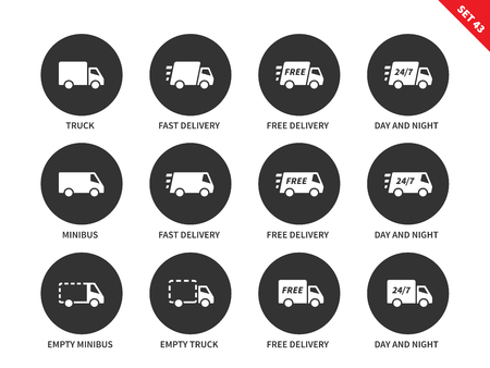 conveyance: Delivery and conveyance vector icons set. Delivery to the clients concept, Items for service advertising, truck, fast delivery, 27-7, minibus delivery. Isolated on white background