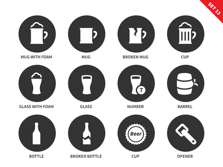 Beer and beverages vector icons set. Drinking concept, different kinds of glasses, mug with foam, cup, barrel, broken glasses, bottle and opener. Isolated on white background Illustration