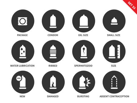콘돔 벡터 아이콘을 설정합니다. 안전 및 보호 개념입니다. 피임 상품, 다른 크기의 콘돔, 늑골이있는 콘돔, 손상된 콘돔. 흰 배경에 고립