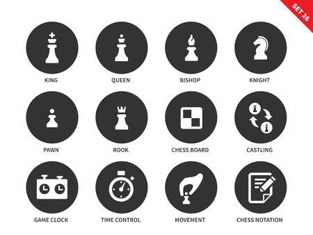 notation: Chess figures vector icons set. Intellectual game concept. Equipment for playing chess, king, queen, bishop, knight, pawn, rook, board, game clock and chess notation. Isolated on white background
