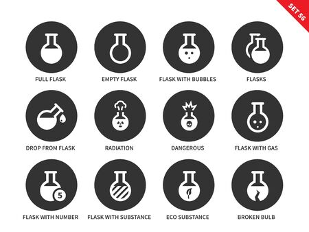 substances: Flask vector icons set. Chemical tools and utensils. Icons for laboratories, full and empty flasks, radiation, flasks with substances and broken flask. Isolated on white background Illustration