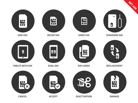 sim card: Sim card vector icons set. Technology and telecommunication items, different types of sim card, mini, macro, nano, standard, tablet with sim, deactivation, damage. Isolated on white background