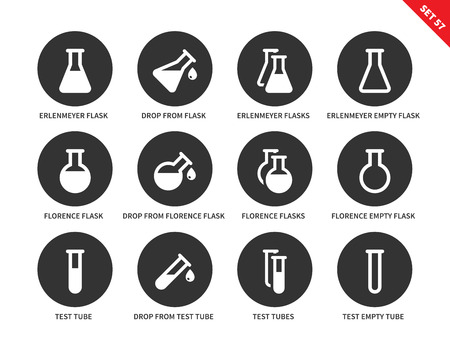 erlenmeyer: Flask vector icons set. Chemical test tubes, science and investigations concept, full and empty erlenmeyer flasks, florence flasks, different test tubes. Isolated on white background