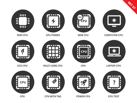 computer cpu: Central processing unit tools vector icons set. Modern technology concept. Icons for computers, mini cpu, laptop and computer cpu, eco cpu, cpu with tag and label. Isolated on white background
