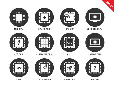 unité de traitement des outils vectoriels icônes centrales définies. concept de la technologie moderne. Icônes pour les ordinateurs, mini cpu, ordinateur portable et ordinateur cpu, eco cpu, cpu avec étiquette et étiquette. Isolé sur fond blanc