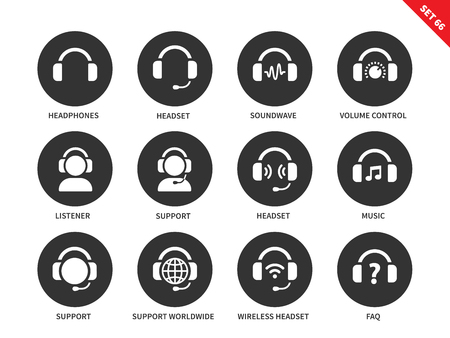 listener: Headphones and headsets vector icons set. Music and technology items, call-centre concept, headphones, headsets, support, music, sound wave, listener. Isolated on white background