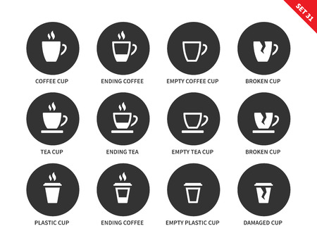 ending of service: Coffee and tea cups vector icons set. Hot drinking and relax concept. Items for advertising in restaurants and cafes, ending coffee cups, plastic, empty and damaged cups. Isolated on white background