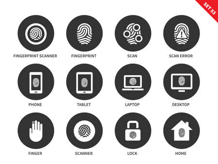 verification: Fingerprint vector icons set. Safety verification concept. Iconf for digital systems, scanning, phone, tablet, laptop security, lock, scanner. Isolated on white background.