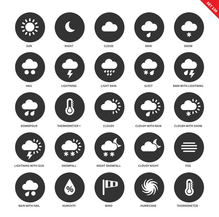 hail: Weather forecasting vector icons set. Natural phenomenon concept, cloud, rain, snow, hail, sleet, downpuor, thermometer, snowfall, fog, wind, hurrricane. Isolated on white background Illustration