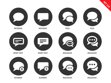 microblog: Talking bubble vector icons set. Talks and dialog concept. Icons for social networks, speech bubbles, dialogue, text, send, messages. Isolated on white background