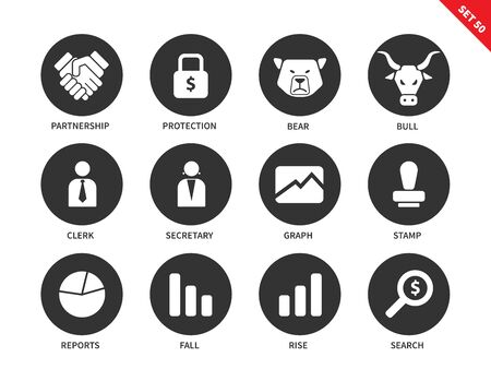 rise fall: Finance vector icons set. Business, money and economy concept, partnership, clerk, secretary, stamp, search, report, graph. Isolated on white background