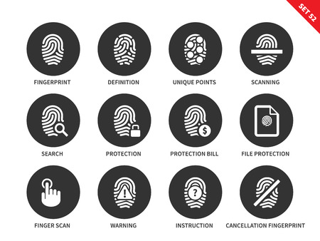 admittance: Fingerprint vector icons set. Admittance and protection concept. Items for security systems, definition, scanning, search, protection, warning. Isolated on white background.