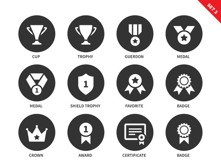 first form: Prices and awards vector icons set of cup, trophy, guerdon, medals, shield trophy, badges, crown, certificate and others insignia. Isolated on white background