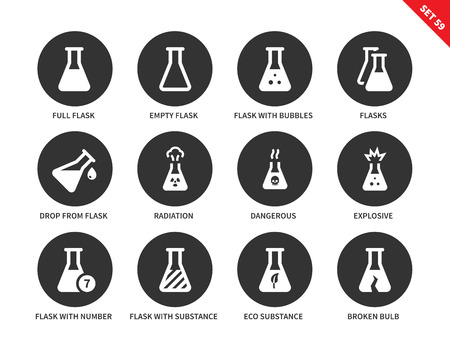substances: Flask vector icons set. Chemical tools. Icons for laboratories, science concept, full and empty flasks, radiation, explosive, flasks with substances and broken flask. Isolated on white background
