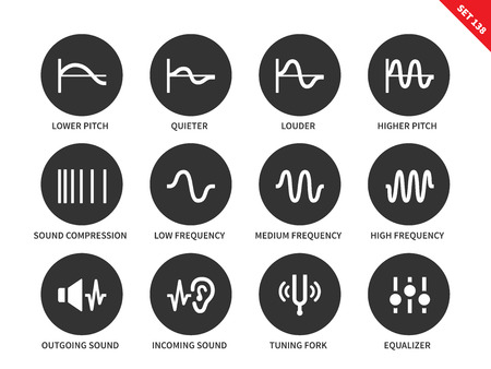 quieter: Sound waves icons on white background. Vector illustration.