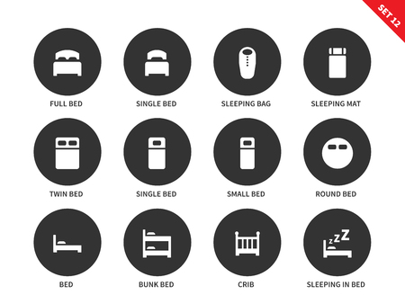 bunkbed: Hotel beds vector icons set for tourists, full bed, single bed, sleeping bag and mat, bunk bed, crib and round bed. Hotel sleep signs. Isolated on white background Illustration