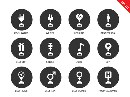 first form: Media awards vector icons set. Art trophies and insignia, rock award, writer, medicine,best person and gift, music, cup, best man and woman, hospital. Isolated on white background Illustration