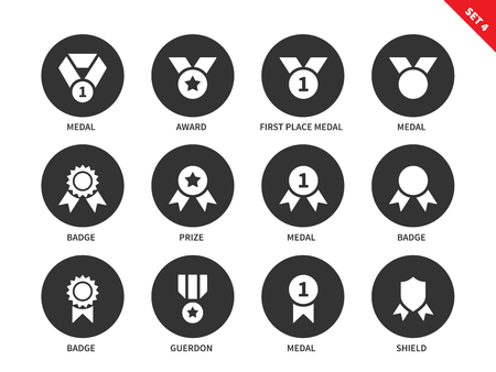 first form: Awards and medals vector icons set of medals, prizes, badges, guerdon, shield and others insignia. Items for ceremonies. Isolated on white background Illustration