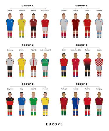 Football, Soccer team. Player flat style vector illustration.