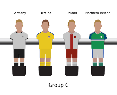 futbol: Table football game, Soccer table with players Football players kit. Soccer teams. Germany, Ukraine, Poland, Northern Ireland