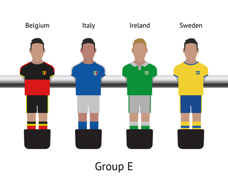 futbol: Table football game, Soccer table with players Football players kit. Soccer teams. Belgium, Italy, Ireland, Sweden