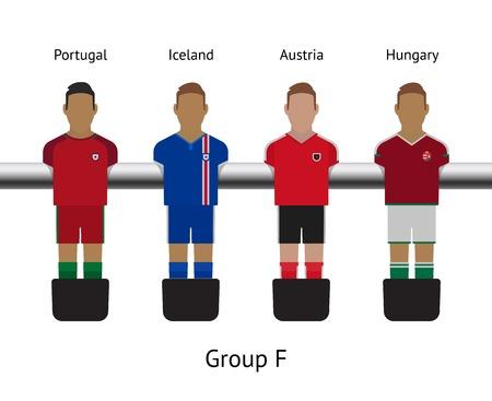futbol soccer: Table football game, Soccer table with players Football players kit. Soccer teams. Portugal, Iceland, Austria, Hungary
