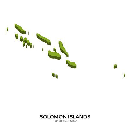 polity: Isometric map of Solomon Islands detailed vector illustration. Isolated 3D isometric country concept for infographic