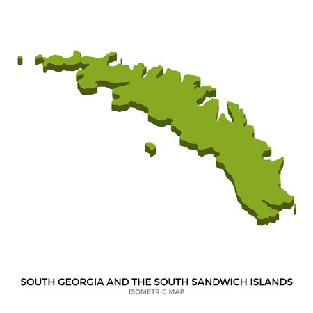 realm: Isometric map of South Georgia and the South Sandwich Islands detailed vector illustration. Isolated 3D isometric country concept for infographic Illustration